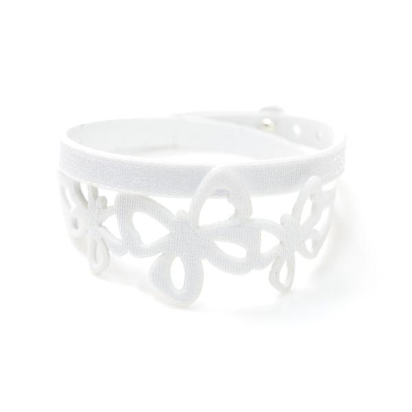 Bracciale in tessuto metallizzato colore bianco con chiusura in argento 925%.100% made in Italy