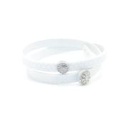 Bracciale in tessuto metallizzato colore bianco con inserto Charms Pavè in Argento 925%.100% made in Italy