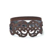 Bracciale in tessuto metallizzato colore cioccolato con chiusura in argento 925%.100% made in Italy