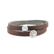 Bracciale in tessuto colore cioccolato con charms in argento 925% e zirconi bianchi.100% made in Italy