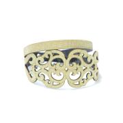 Bracciale in tessuto metallizzato colore oro con chiusura in argento 925%.100% made in Italy