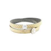 Bracciale in tessuto colore oro con charms in argento 925% e zirconi bianchi.100% made in Italy