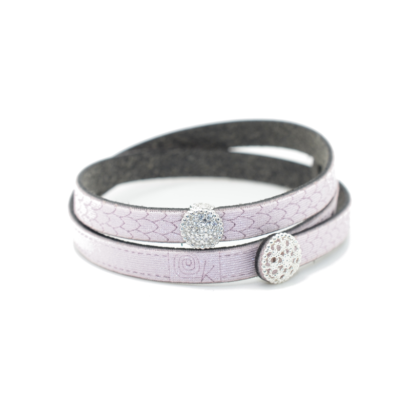 Bracciale in tessuto metallizzato colore rosa antico con inserto Charms Pavè in Argento 925%.100% made in Italy