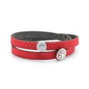 Bracciale in tessuto colore rosso con charms in argento 925% e zirconi bianchi.100% made in Italy