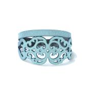 Bracciale in tessuto metallizzato colore salvia con chiusura in argento 925%.100% made in Italy
