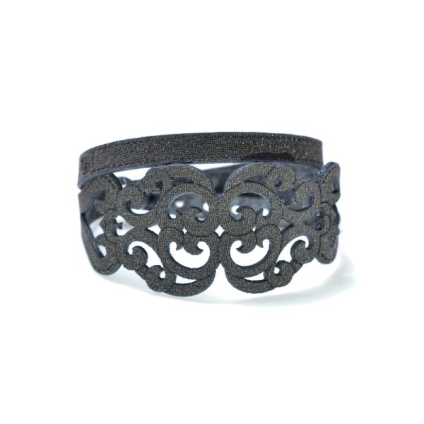 Bracciale in tessuto metallizzato colore testa di moro con chiusura in argento 925%.100% made in Italy