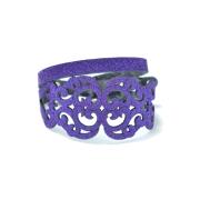 Bracciale in tessuto metallizzato colore viola con chiusura in argento 925%.100% made in Italy