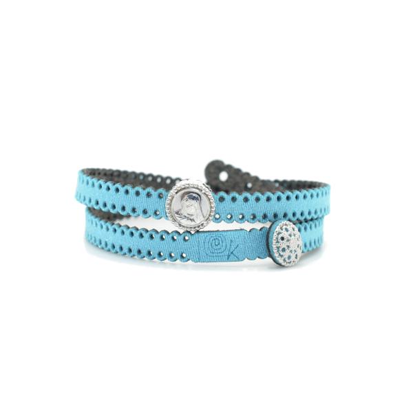 Braccialetto Madre Divina in tessuto colore Azzurro con chiusura e charms in Argento 925%
