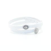 Braccialetto in tessuto bianco con inserto croce in argento 925 e zirconi blu. 100% made in Italy