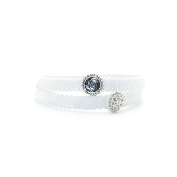 Braccialetto Madre Divina in tessuto colore Bianco con chiusura e charms in Argento 925%