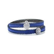 Bracciale in tessuto metallizzato blu con inserto religioso in argento 925%.100% made in Italy