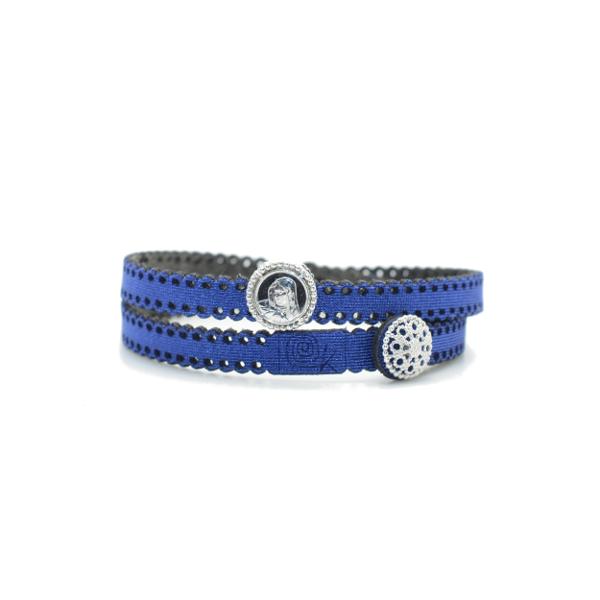 Braccialetto Madre Divina in tessuto colore Blu con chiusura e charms in Argento 925%
