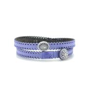 Braccialetto in tessuto lilla con inserto croce in argento 925 e zirconi blu. 100% made in Italy