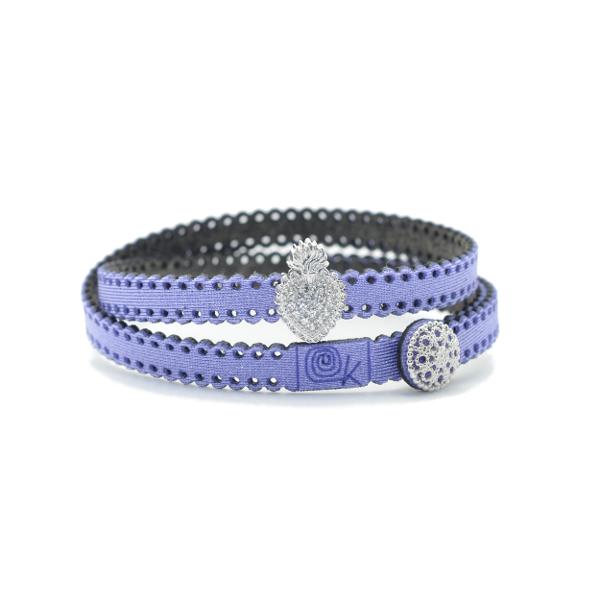 Bracciale in tessuto metallizzato colore lilla con inserto religioso in argento 925%.100% made in Italy