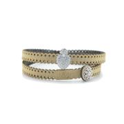 Bracciale in tessuto metallizzato colore oro con inserto religioso in argento 925%.100% made in Italy
