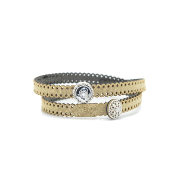 Braccialetto Madre Divina in tessuto colore Oro con chiusura e charms in Argento 925%
