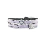 Braccialetto in tessuto rosa antico con inserto croce in argento 925 e zirconi blu. 100% made in Italy