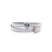 Braccialetto Madre Divina in tessuto colore Rosa Antico con chiusura e charms in Argento 925%