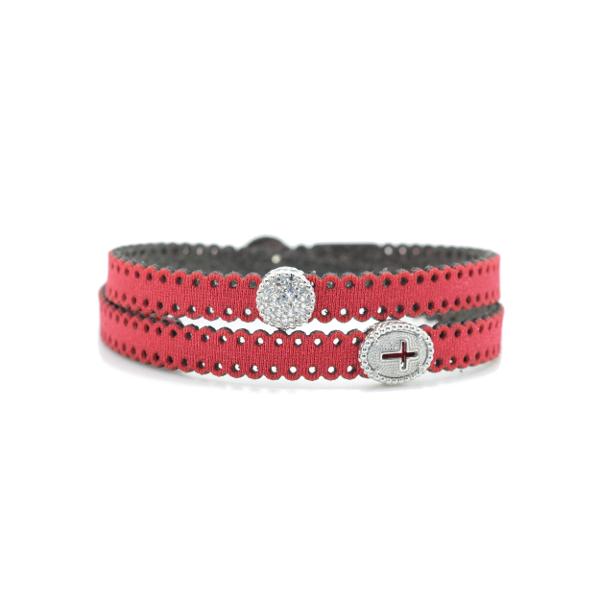 Braccialetto in tessuto colore rosso metallizzato con chiusura e inserti religiosi in Argento 925% e zirconi