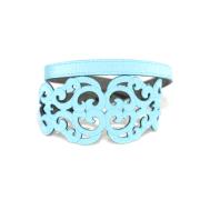 Bracciale in tessuto metallizzato colore Azzurro con chiusura in argento 925%.100% made in Italy