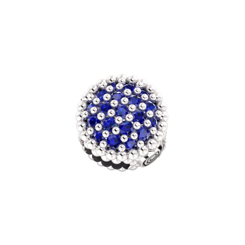 Bull Pavè in Argento con zirconi blu da abbinare al tuo braccialetto in tessuto preferito