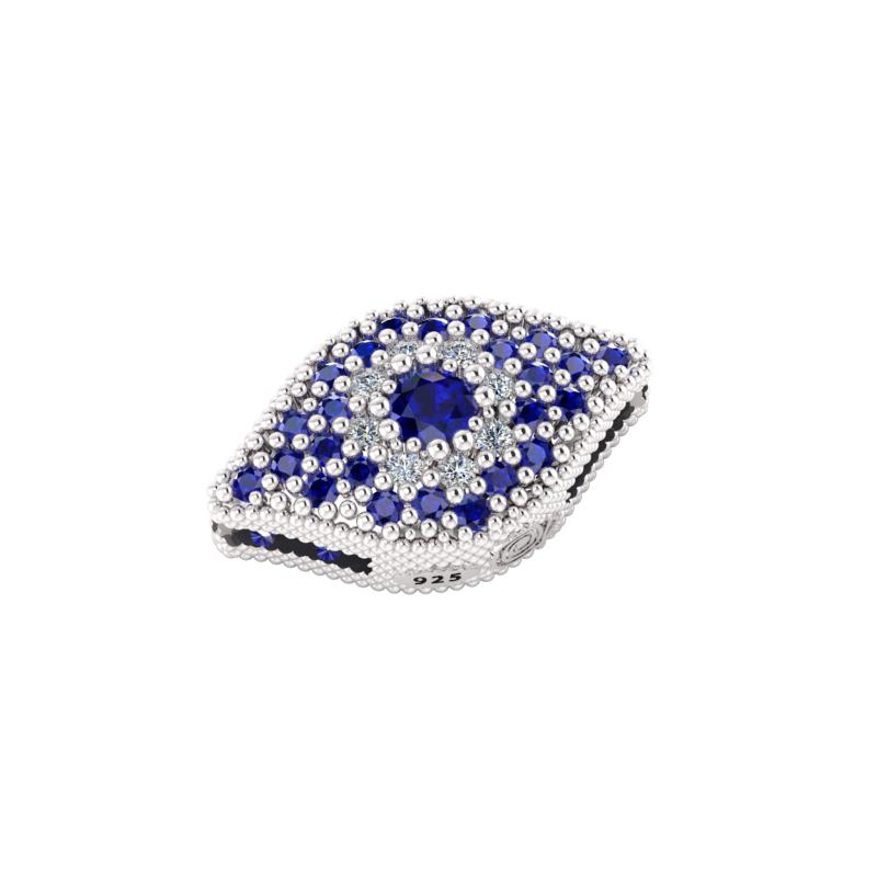 Charms in Argento 925% con zirconi blu e bianchi da abbinare al tuo braccialetto in tessuto Krilà preferito.