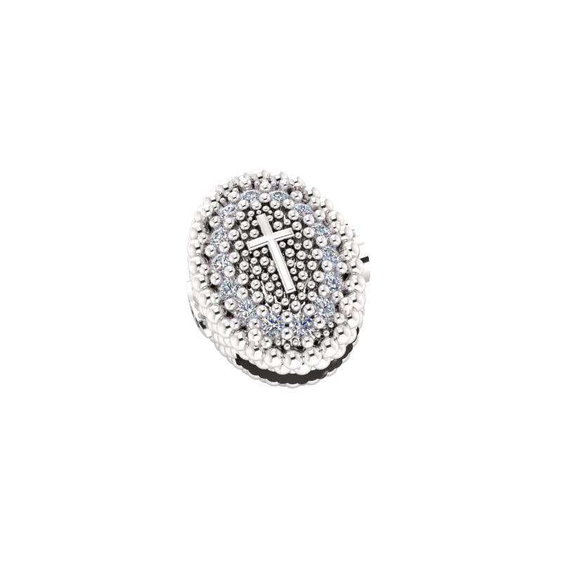 Charms croce pavè bianco in Argento 925% da abbinare al tuo bracciale Krilà preferito