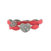 Braccialetto in tessuto rosso con cuore in Argento 925% placcato rutenio e zirconi bianchi.Misura regolabile da 16 a 21cm