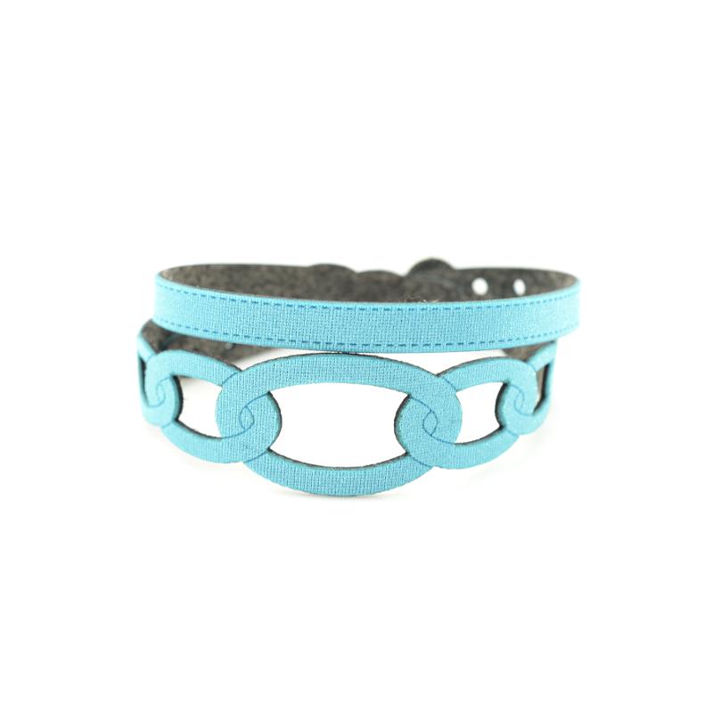Bracciale in tessuto metallizzato colore Azzurro