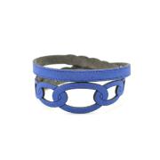 Bracciale in tessuto metallizzato colore Blu
