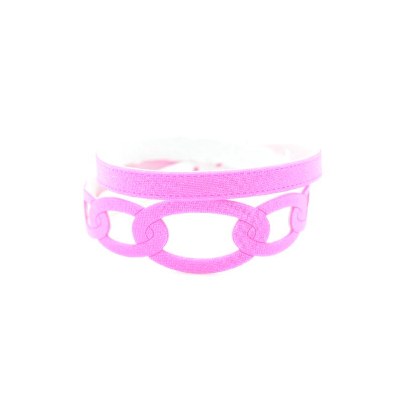 Bracciale in tessuto metallizzato colore Fucsia Fluo