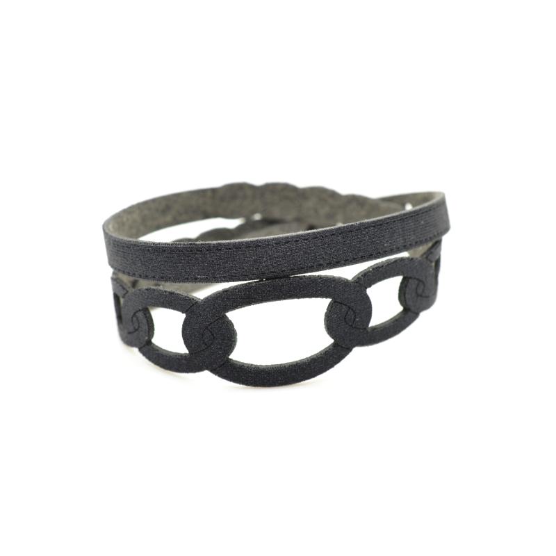 Bracciale in tessuto metallizzato colore Nero