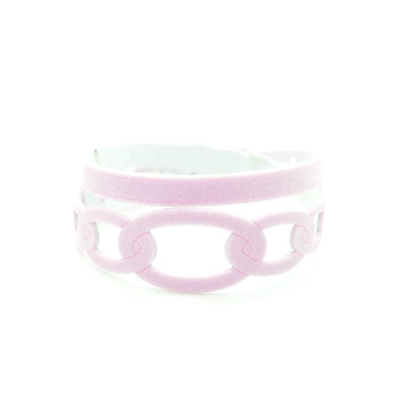 Bracciale in tessuto metallizzato colore Rosa