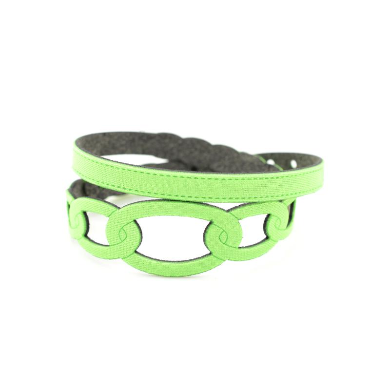 Bracciale in tessuto metallizzato colore Verde Fluo