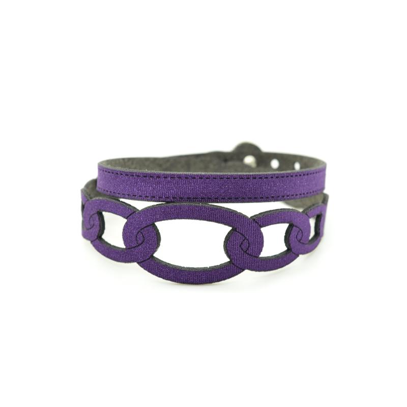 Bracciale in tessuto metallizzato colore Viola