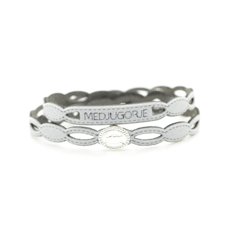 Bracciale Medjugorje in tessuto colore argento con chiusura e inserto religioso in Argento 925%.