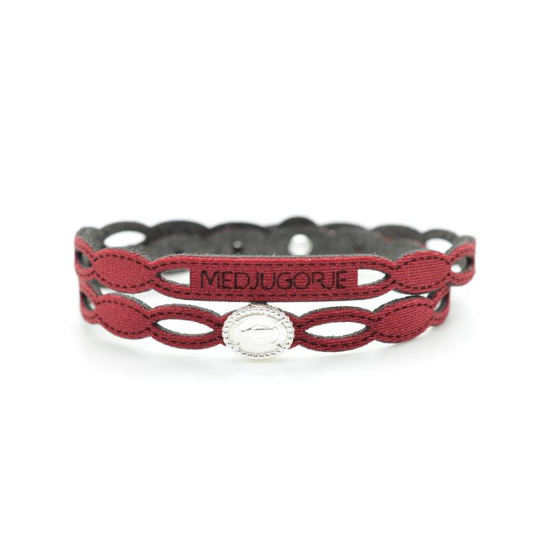 Bracciale Medjugorje in tessuto colore rosso con chiusura e inserto religioso in Argento 925%.