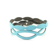 Bracciale Holly in tessuto Metallizzato Azzurro