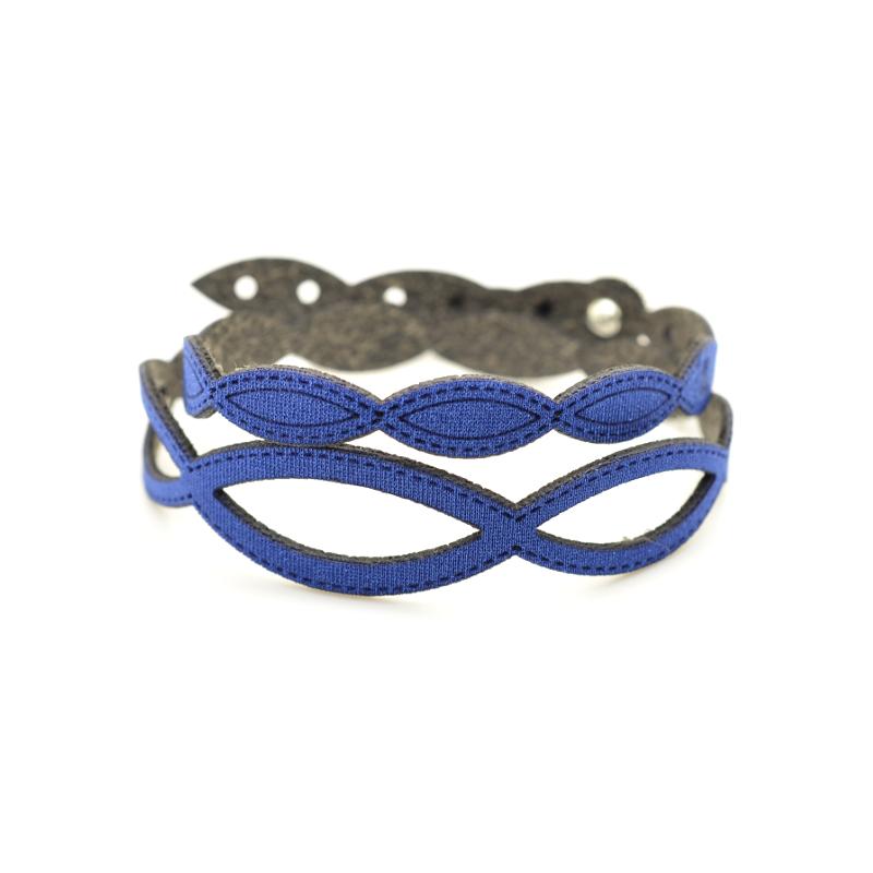 Bracciale Holly in tessuto Metallizzato Blu