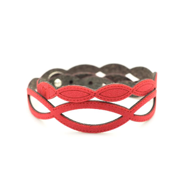 Bracciale Holly in tessuto Metallizzato Rosso