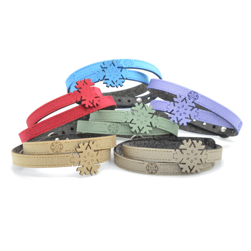 Braccialetti in tessuto metallizzato colorati Collezione Snowflake.Esclusivo krilà 100% made in Italy